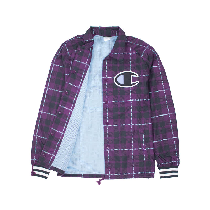 Champion Men's Ribbed Satin Coaches Jacket Venetian Purple Opened