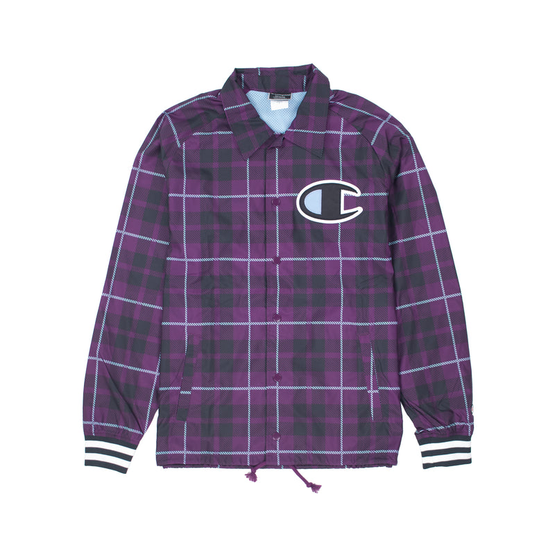 Champion Men's Ribbed Satin Coaches Jacket Venetian Purple