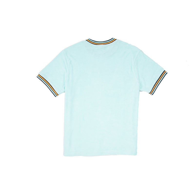 Men's Terry Cloth Short Sleeved Tee Waterfall Green Back