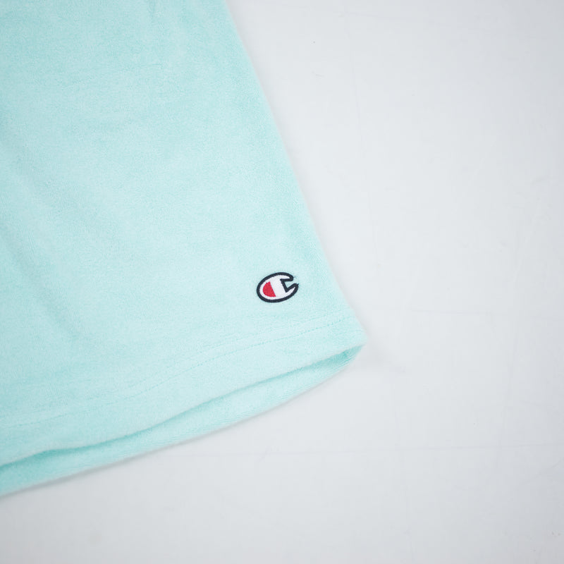 Champion Men's Terry Cloth Shorts Waterfall Green Logo