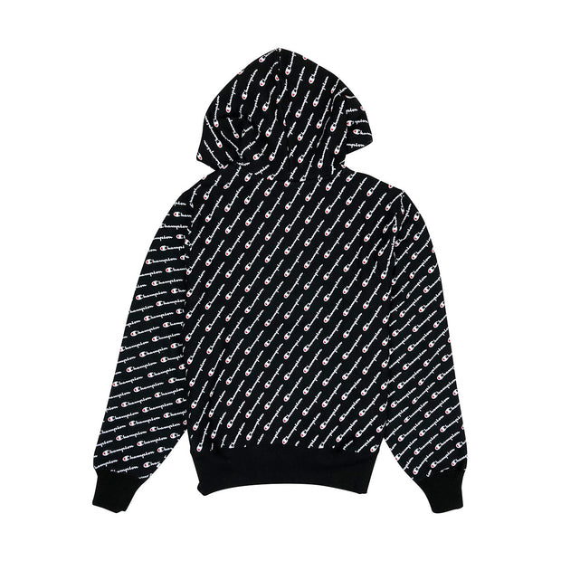 Champion Reverse Weave All Over Print Pullover Hoodie Black Back