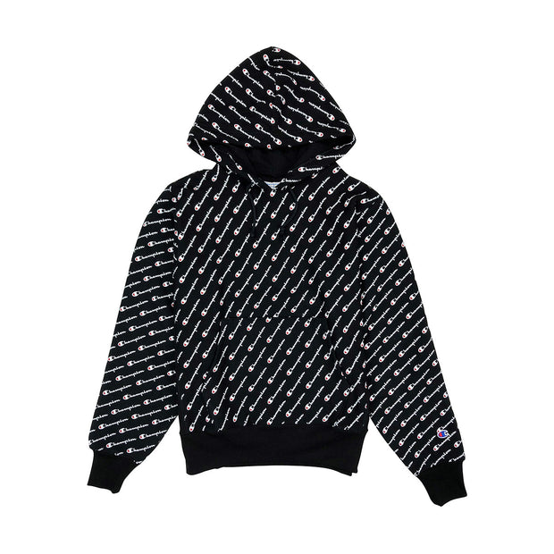 Champion Reverse Weave All Over Print Pullover Hoodie Black