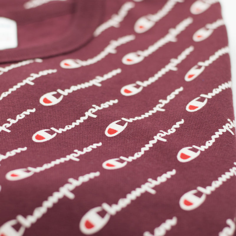 Champion Heritage All Over Script T-Shirt Maroon Artwork