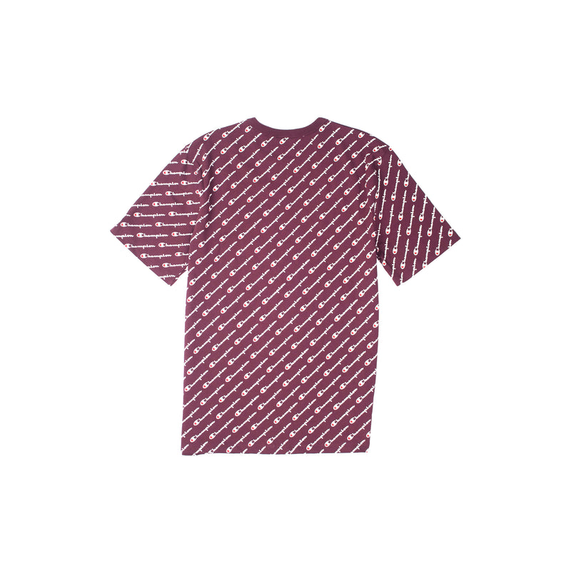 Champion Heritage All Over Script T-Shirt Maroon Back