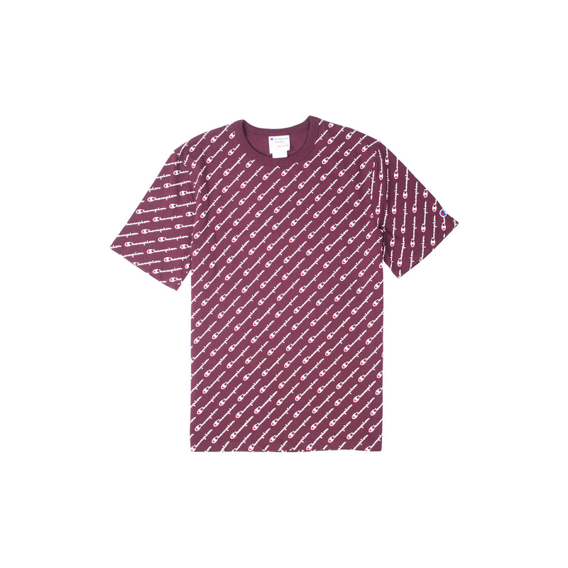 Champion Heritage All Over Script T-Shirt Maroon
