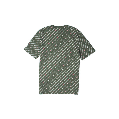 Champion Heritage All Over Script T-Shirt Olive Back