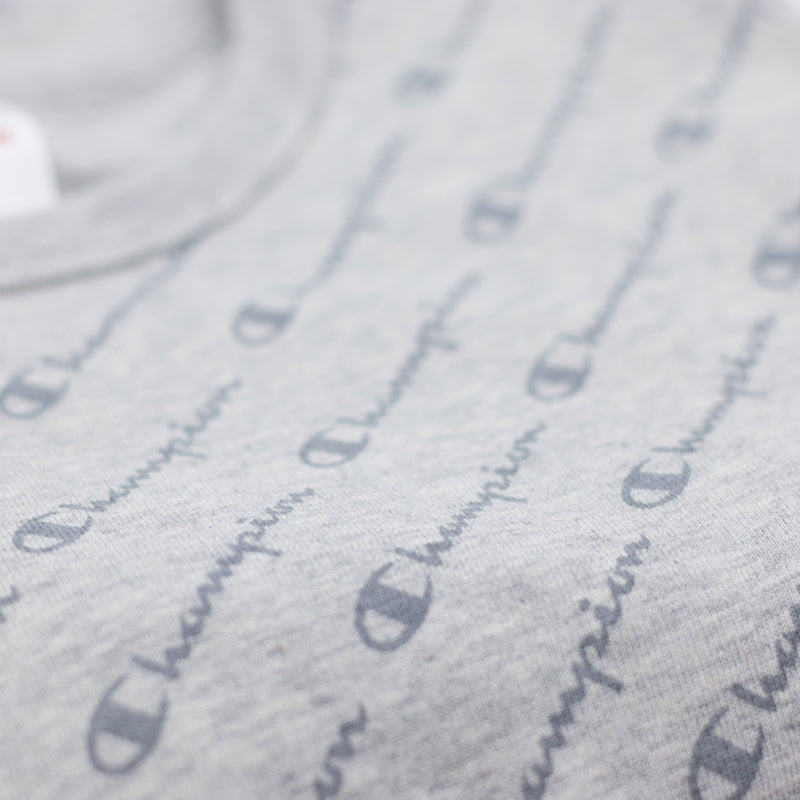 Champion Heritage All Over Script T-Shirt Oxford Grey Artwork