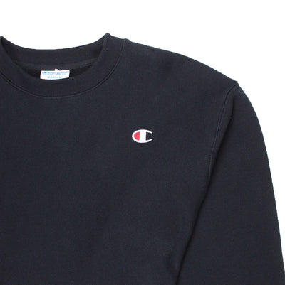 Champion Women's Reverse Weave Cropped Crewneck Men's Fit Black Logo