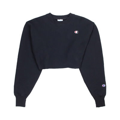 Champion Women's Reverse Weave Cropped Crewneck Men's Fit Black