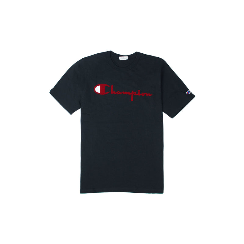 Champion Men's Reverse Weave Felt Script Tee Black