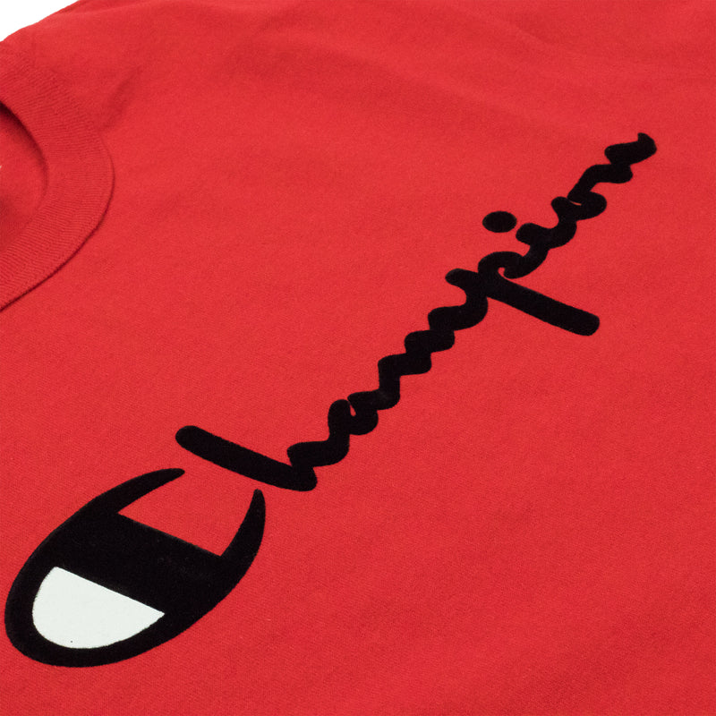 Champion Men's Reverse Weave Felt Script Tee Team Red Scarlet Artwork