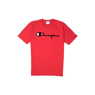Champion Men's Reverse Weave Felt Script Tee Team Red Scarlet