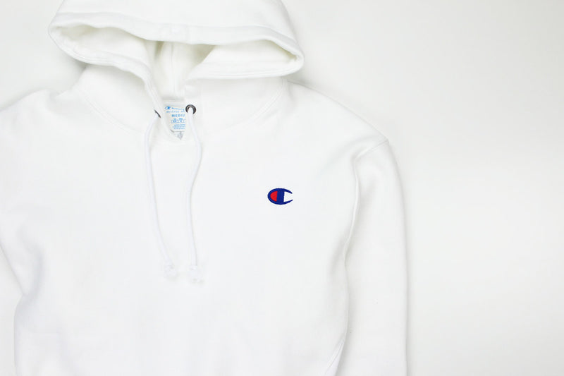 Champion Women's Reverse Weave Cropped Hoodie Men's Fit White Logo 2