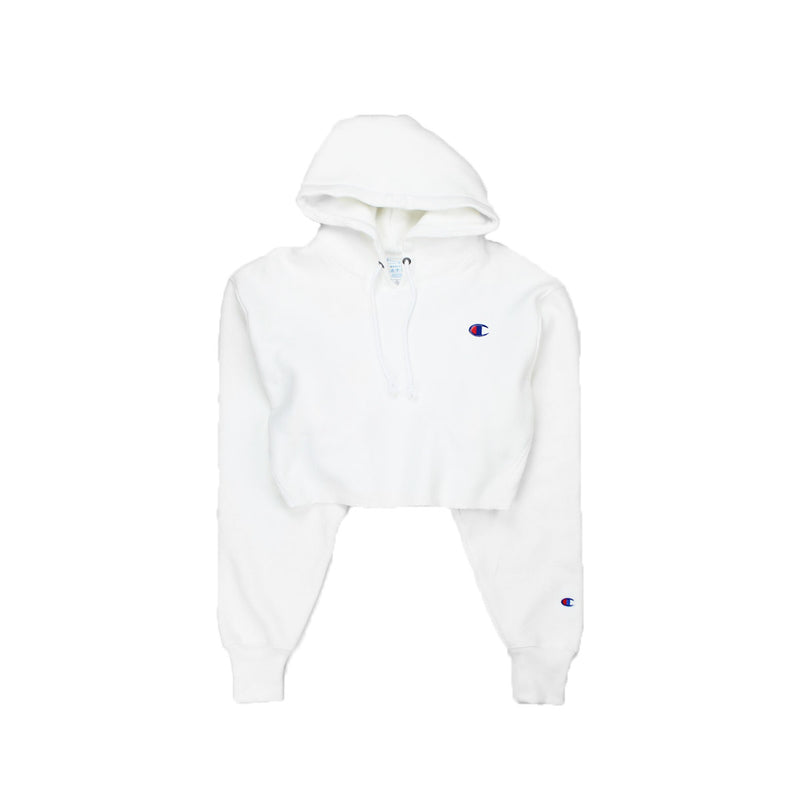 Champion Women's Reverse Weave Cropped Hoodie Men's Fit White