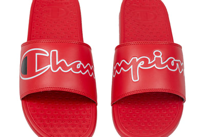 Champion Men's Split Script Super Slides Red Artwork