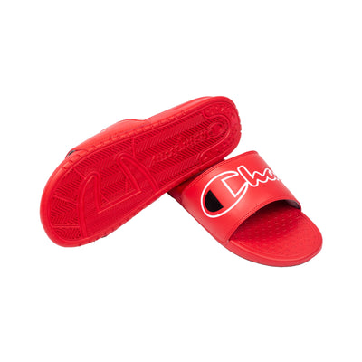 Champion Men's Split Script Super Slides Red Bottom