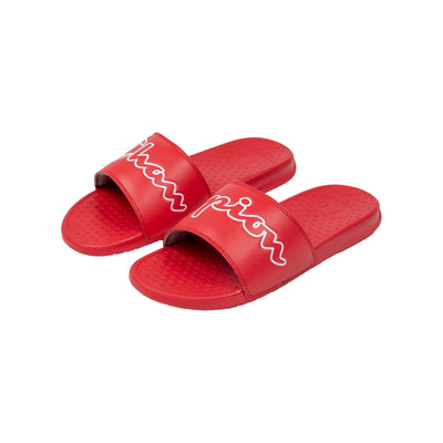 Champion Men's Split Script Super Slides Red
