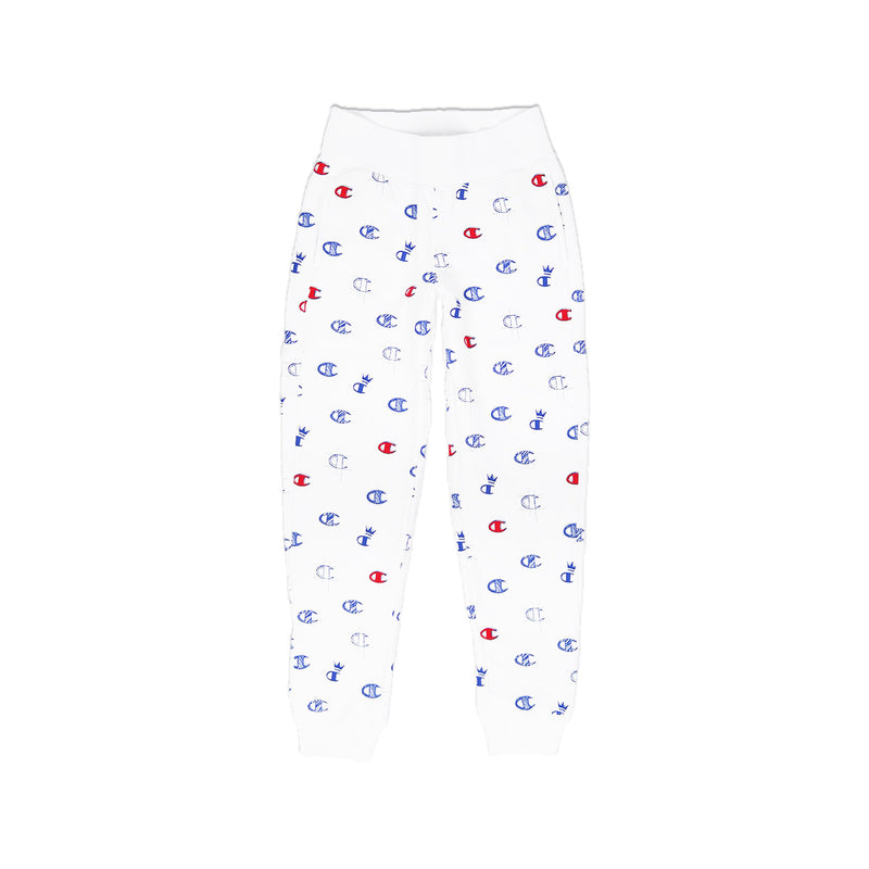 Champion Women's Reverse Weave All Over Print Joggers White Back