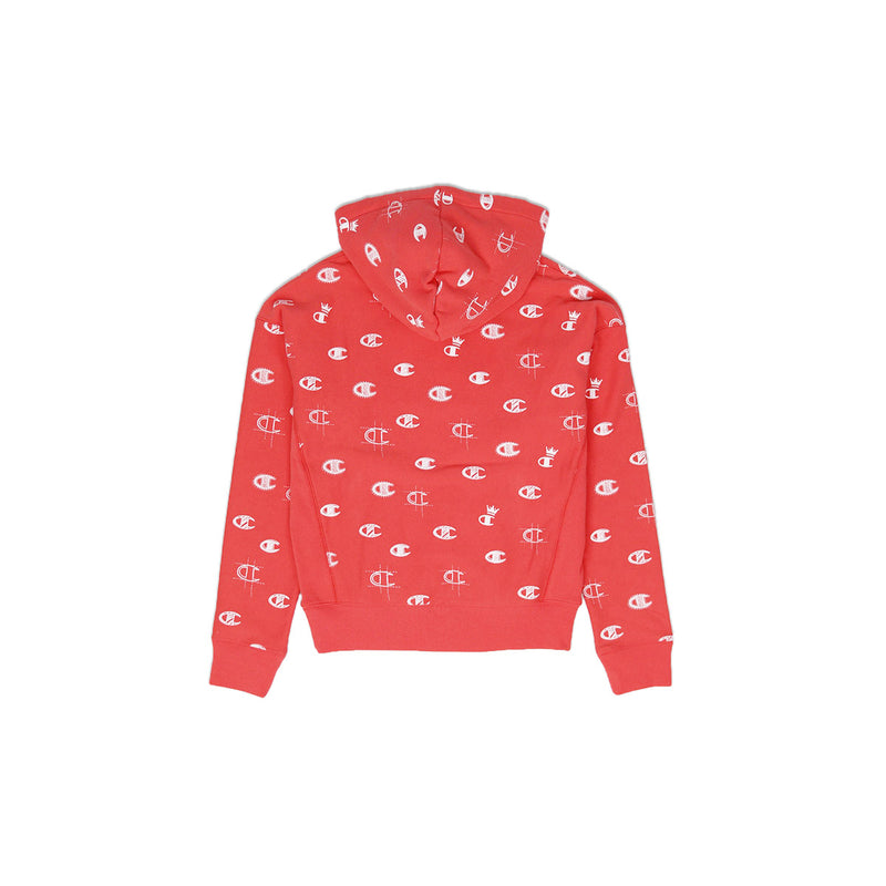 Champion Women's Reverse Weave All Over Print Pullover Hoodie Groovy Papaya Back