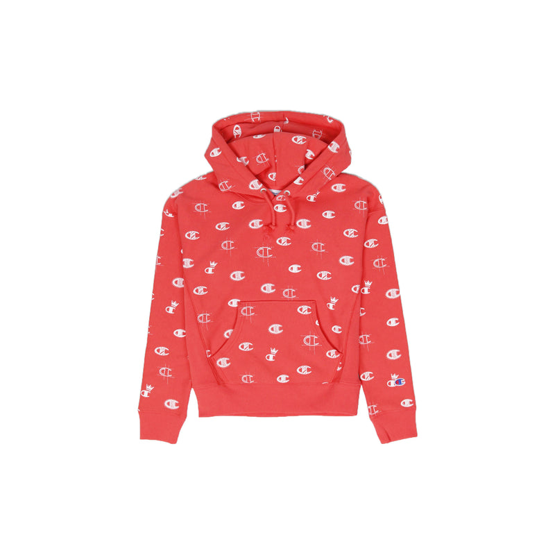 Champion Women's Reverse Weave All Over Print Pullover Hoodie Groovy Papaya