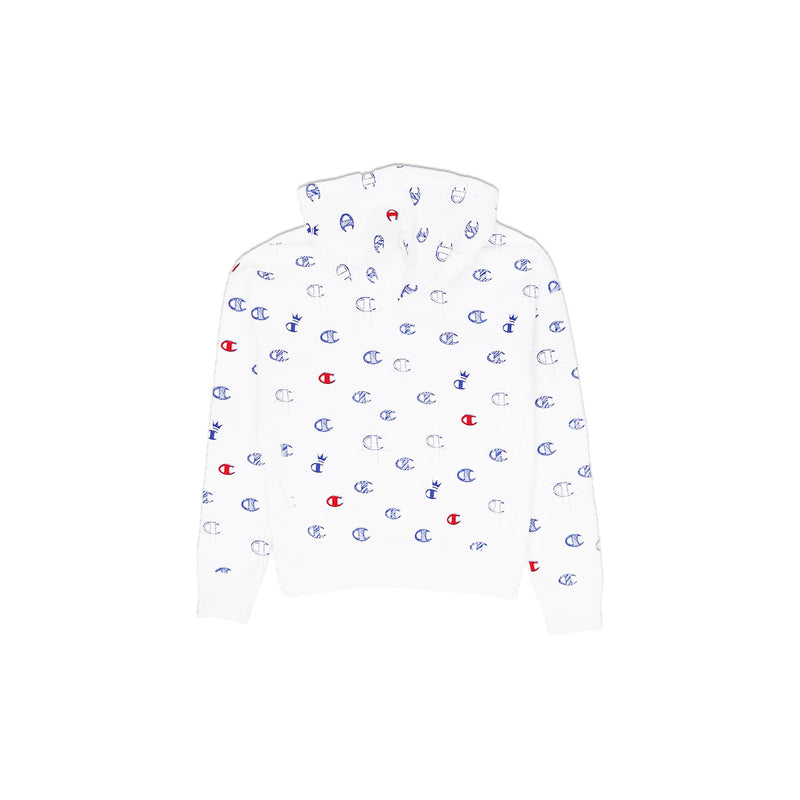 Champion Women's Reverse Weave All Over Print Pullover Hoodie White Back