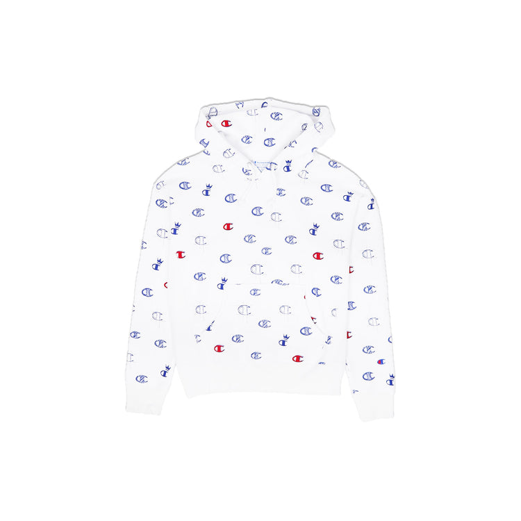 Champion Women's Reverse Weave All Over Print Pullover Hoodie White
