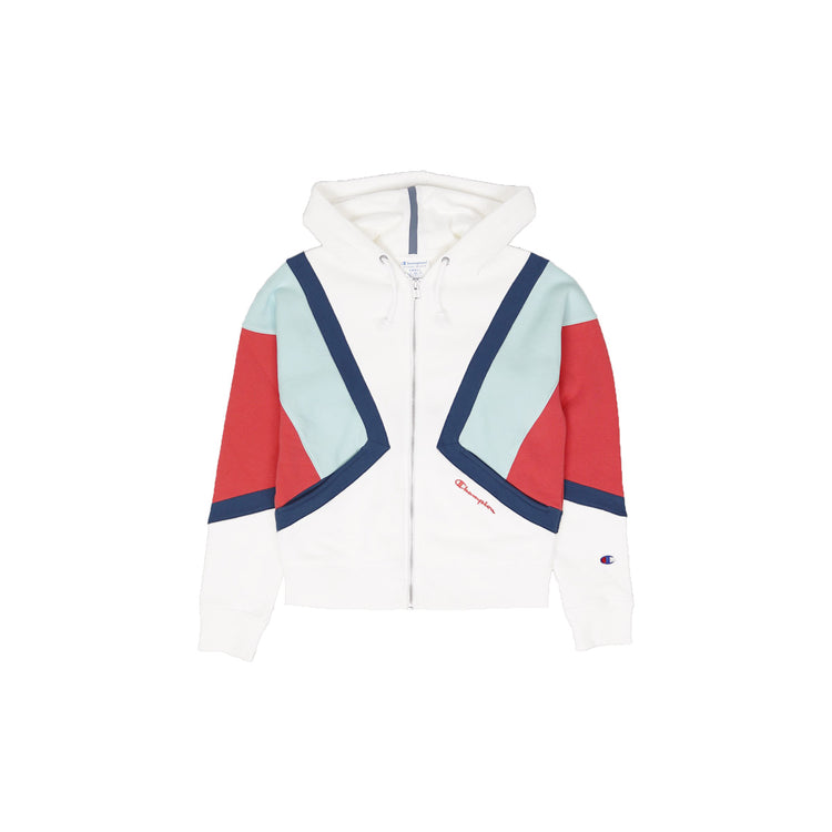 1567b7dcdb1e Champion Women s Reverse Weave Colorblock Zip Hoodie White
