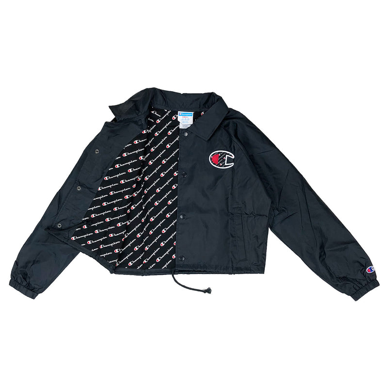 Champion Women's Cropped Coaches Jacket Black Opened
