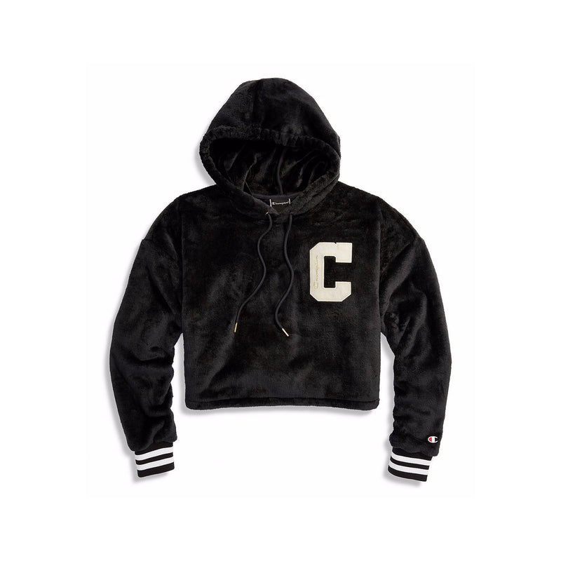 Champion Women's Faux Fur Cropped Hoodie