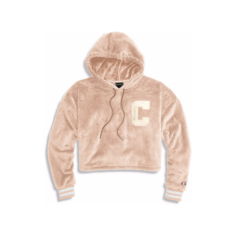 Champion Women's Faux Fur Cropped Hoodie Pink