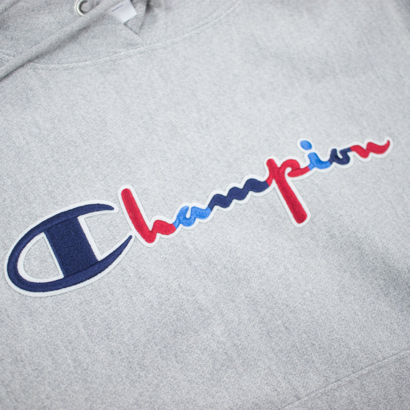 Champion Women's Reverse Weave 3 Color Script Hoodie Oxford Grey Artwork