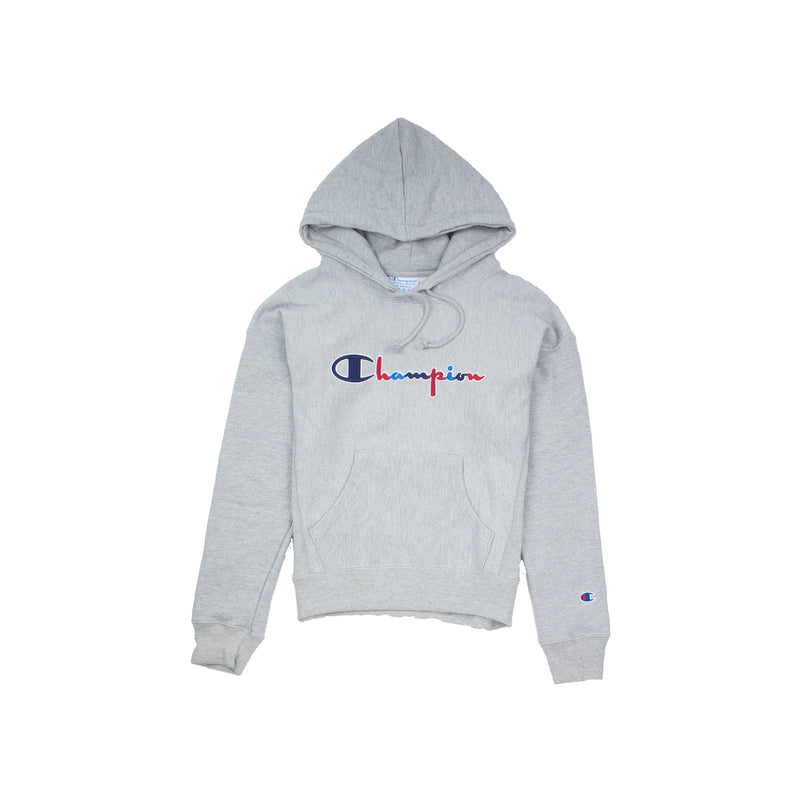 Champion Women's Reverse Weave 3 Color Script Hoodie Oxford Grey