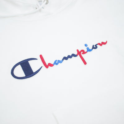 Champion Women's Reverse Weave 3 Color Script Hoodie White Artwork