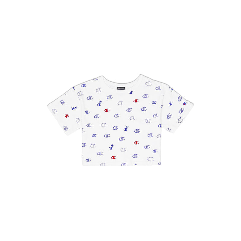 46196753 Champion Women's Reverse Weave All Over Print Cropped Tee White