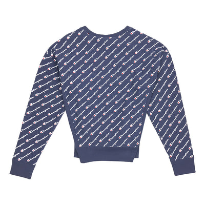 Champion Women's Reverse Weave All Over Script Crew Neck Navy Back