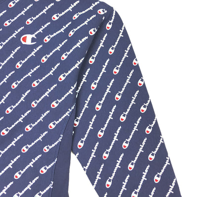 Champion Women's Reverse Weave All Over Script Crew Neck Navy Trademark