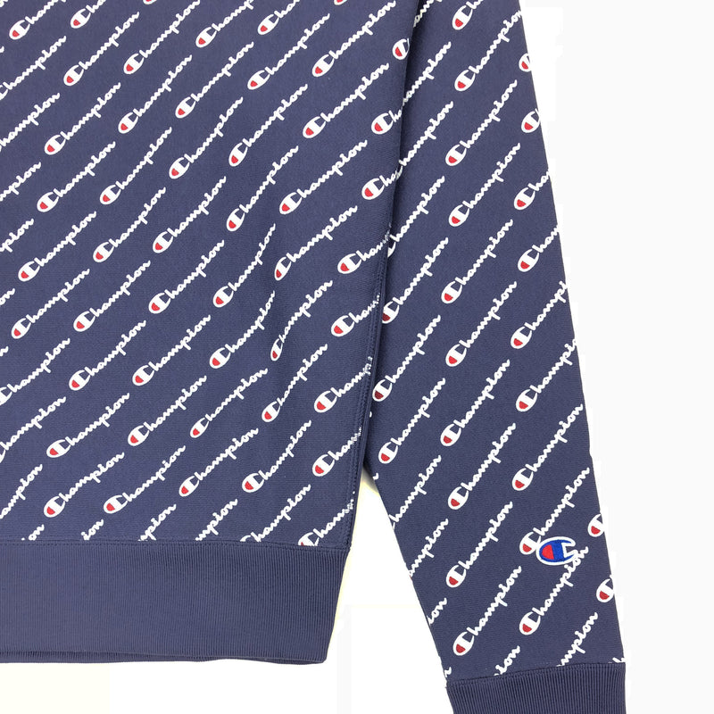Champion Women's Reverse Weave All Over Script Crew Neck Navy Trim