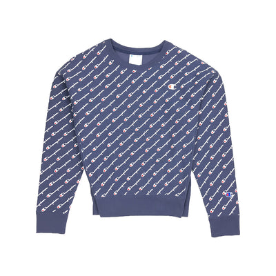 Champion Women's Reverse Weave All Over Script Crew Neck Navy
