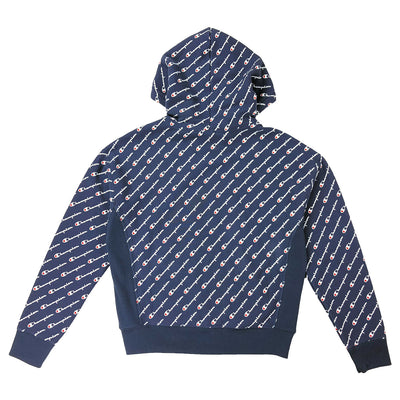 Champion Women's Reverse Weave All Over Script Hoodie Navy Back