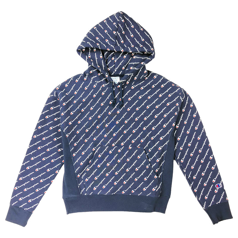 Champion Women's Reverse Weave All Over Script Hoodie Navy