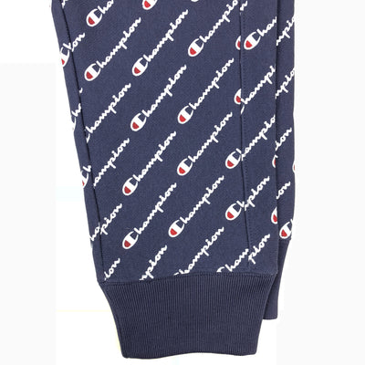 Champion Women's Reverse Weave All Over Script Joggers Navy Ankles