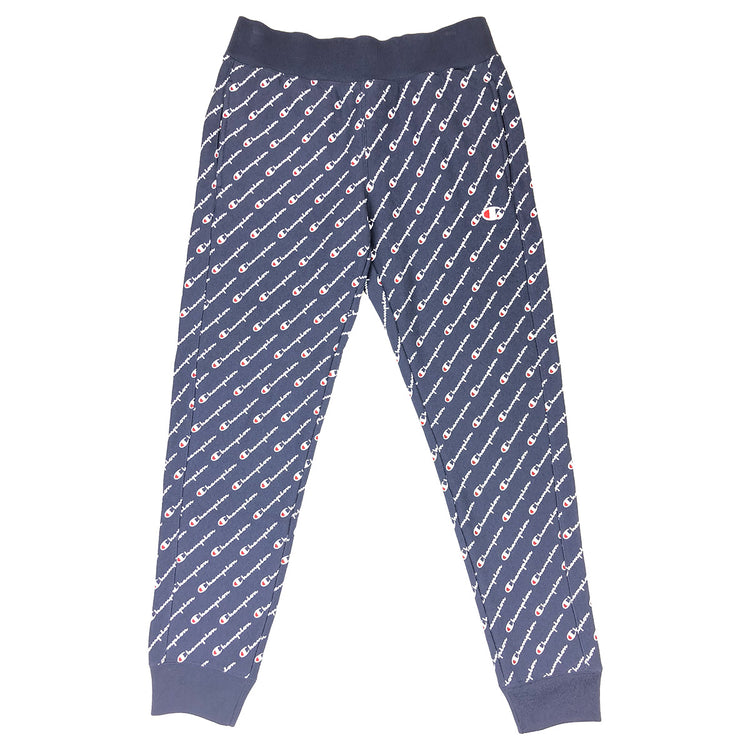 Champion Women's Reverse Weave All Over Script Joggers Navy
