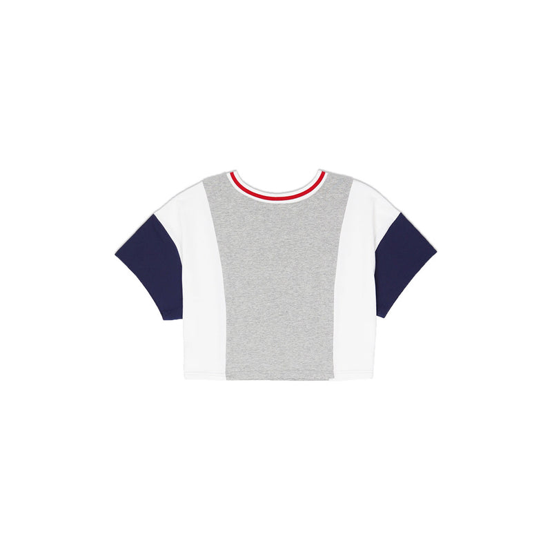 Champion Women's Reverse Weave Color Block Cropped Tee Oxford Grey & White Back
