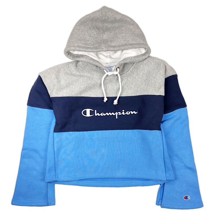 Champion Women's Reverse Weave Cropped Color Block Hoodie Oxford Grey / Navy