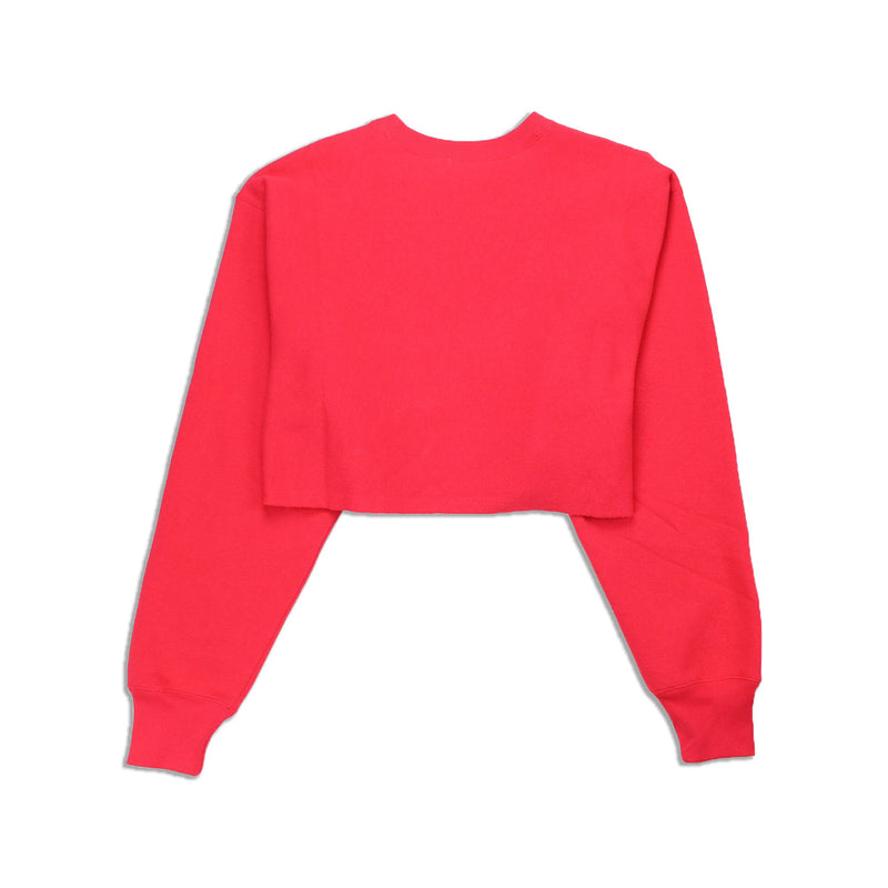 Champion Women's Reverse Weave Cropped Crew Neck Men's Fit Red Spark Back