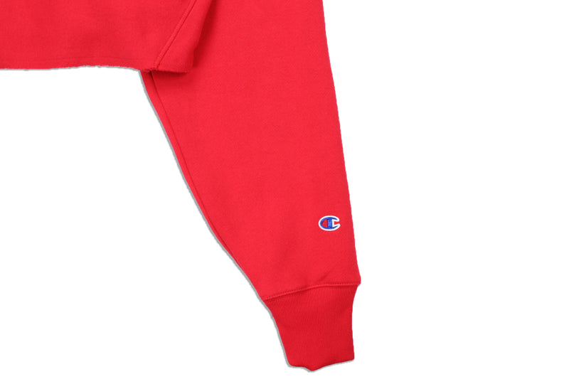 Champion Women's Reverse Weave Cropped Crew Neck Men's Fit Red Spark Logo 2