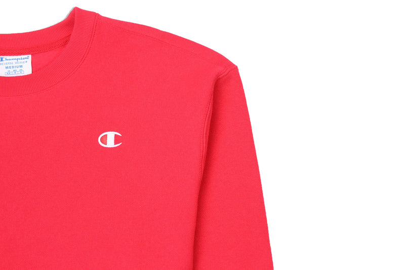 Champion Women's Reverse Weave Cropped Crew Neck Men's Fit Red Spark Logo