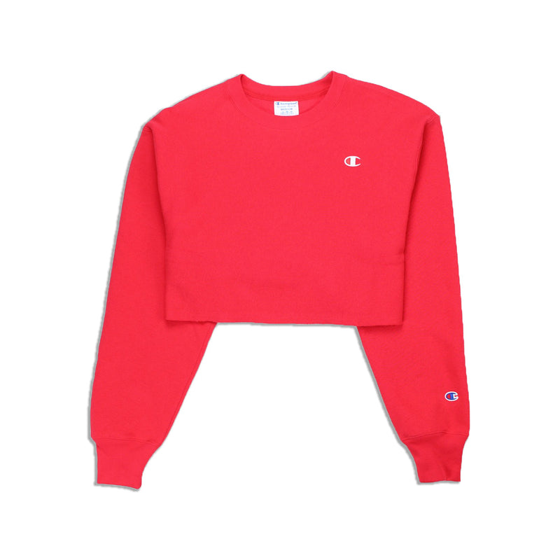 Champion Women's Reverse Weave Cropped Crew Neck Men's Fit Red Spark