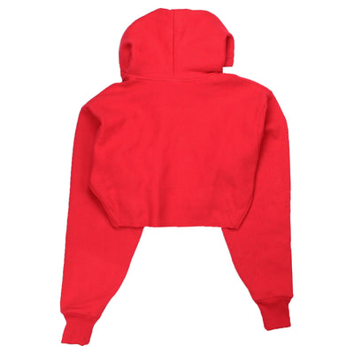 Champion Women's Reverse Weave Cropped Hoodie Men's Fit Red Spark Back