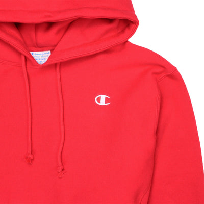 Champion Women's Reverse Weave Cropped Hoodie Men's Fit Red Spark Logo
